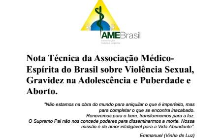 Nota Técnica da Associação Médico-Espírita do Brasil sobre Violência Sexual, Gravidez na Adolescência e Puberdade e Aborto
